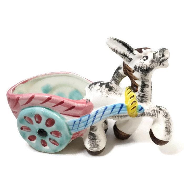 Image 3 of Donkey Cart Ceramic Planter