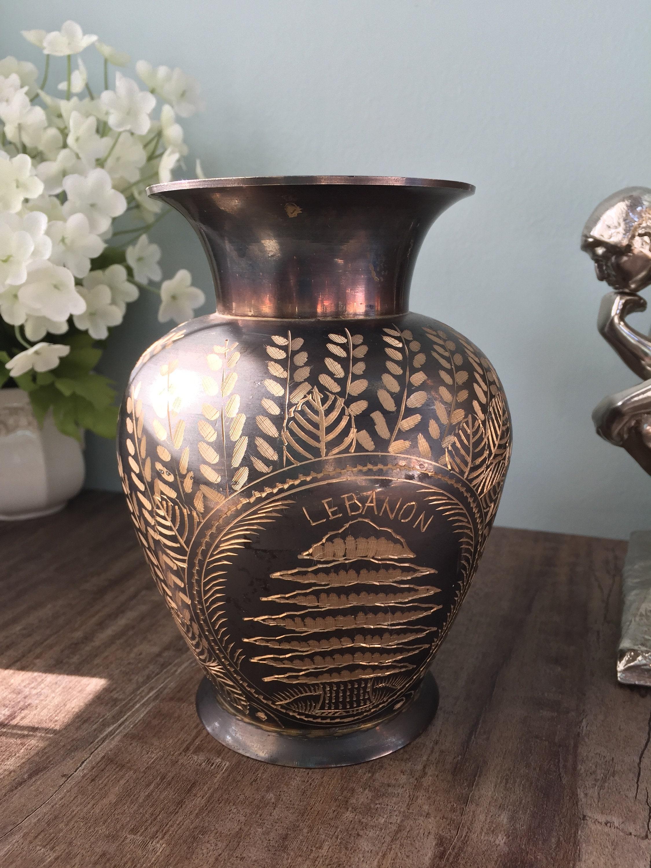 Image 7 of Vintage Etched Brass Lebanon Souvenir Vase