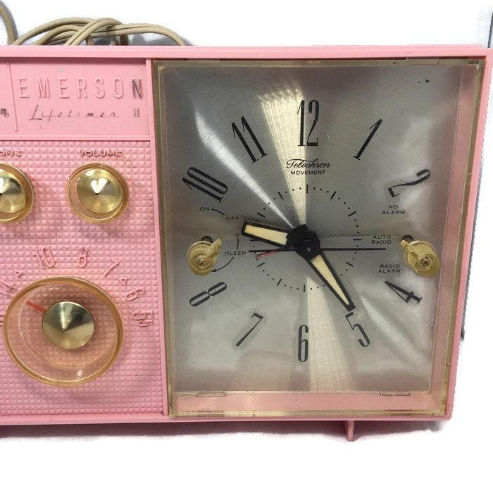 Image 1 of Mid Century Pink Clock Radio, Emerson Electric Lifetimer Telechron