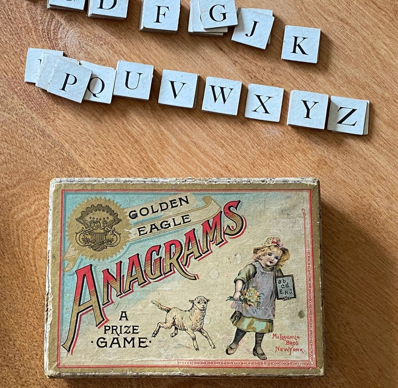 Image 2 of Antique Game - Anagrams - McLoughlin Bros, Original Box, Rare Very God Condition
