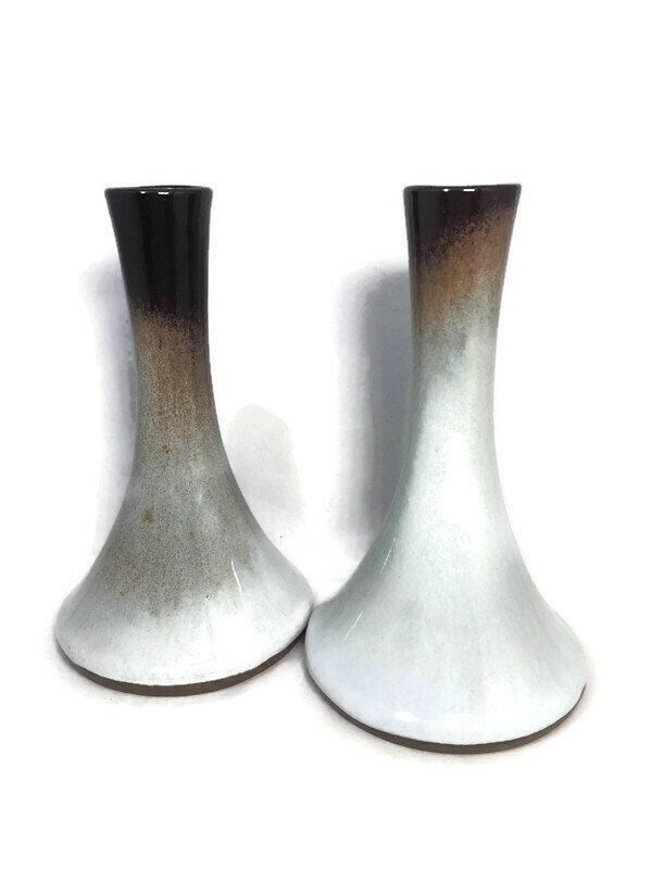 Image 2 of Mid Century Peter Pots Pottery Candleholders