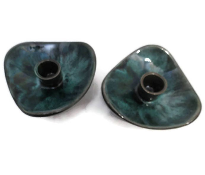 Image 1 of Mid Century Blue Mountain Pottery Candle Holders