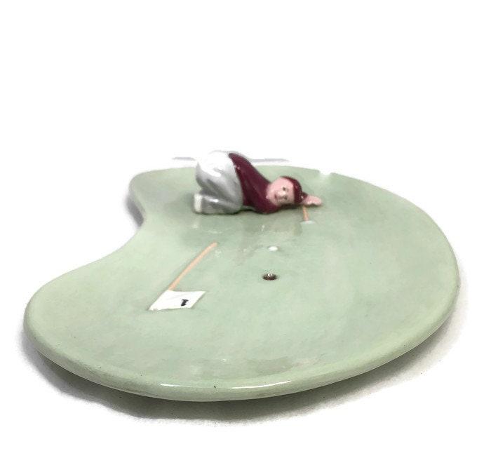 Image 2 of Mid Century Golf Green Ceramic Dish