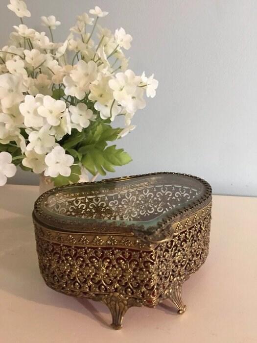 Vintage Gold Jewelry Casket