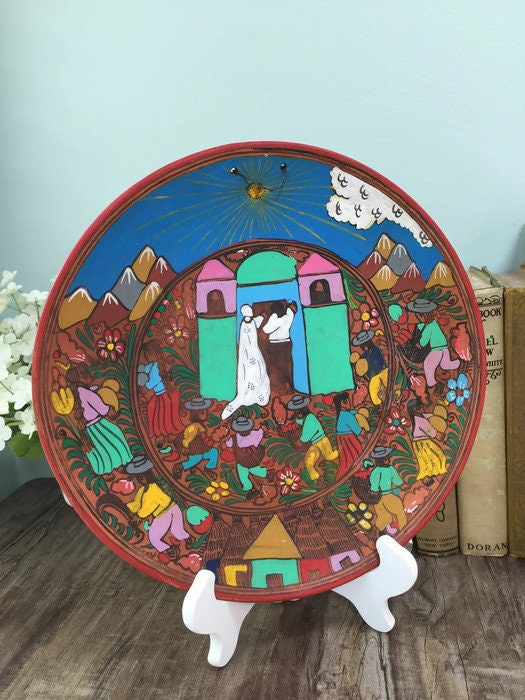 Image 6 of Mexican Folk Art Plate, Red Clay Wedding Dish