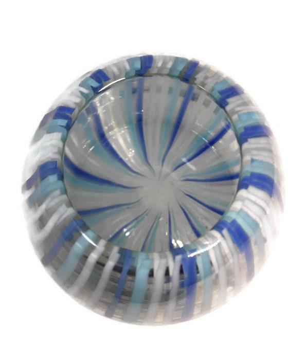 Image 4 of Mid century Murano Vase Blue Swirling Stripes Art Glass