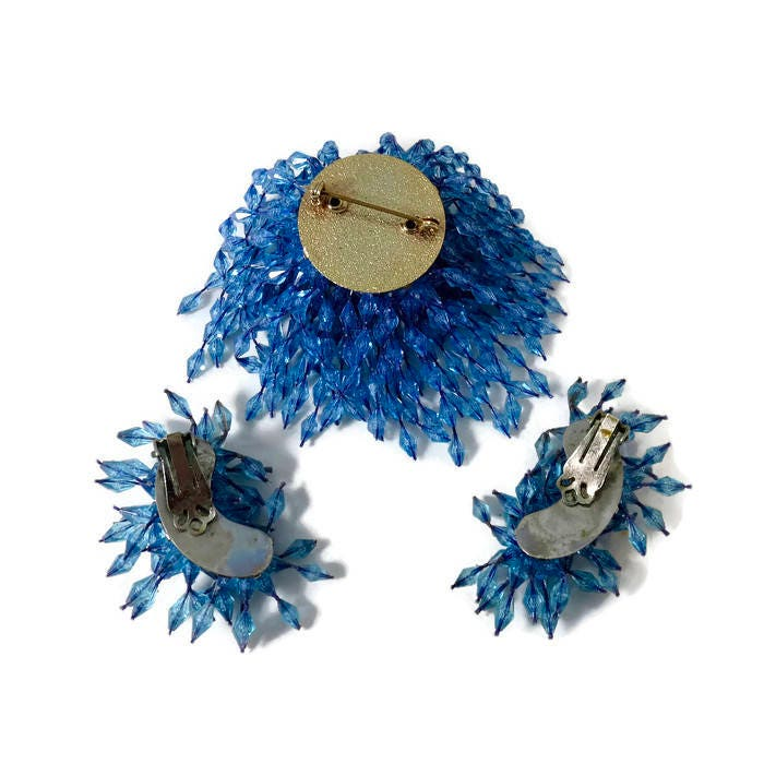 Image 1 of Vintage Blue Dangling Beads Brooch and Earring Set