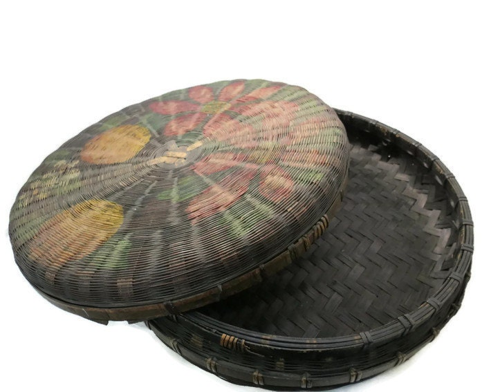 Image 1 of Antique Hand Painted Basket