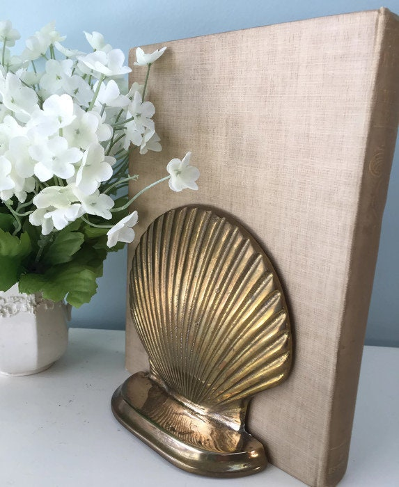 Image 1 of Vintage Brass Shell Bookends