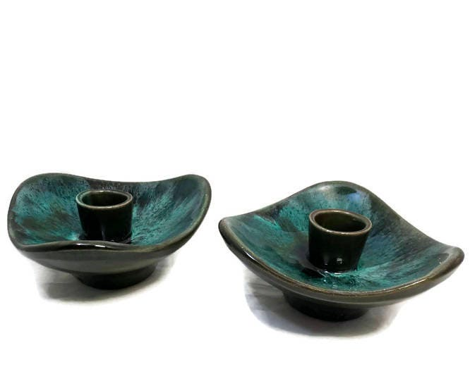 Image 9 of Mid Century Blue Mountain Pottery Candle Holders