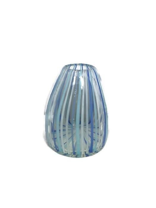 Image 2 of Mid century Murano Vase Blue Swirling Stripes Art Glass