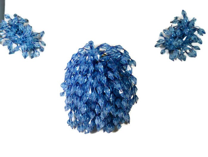 Image 0 of Vintage Blue Dangling Beads Brooch and Earring Set