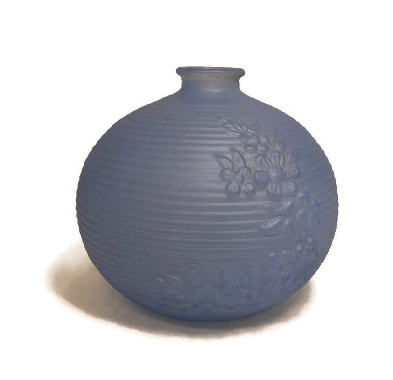 Image 3 of MidCentury Tiffin Blue Frosted Glass Vase