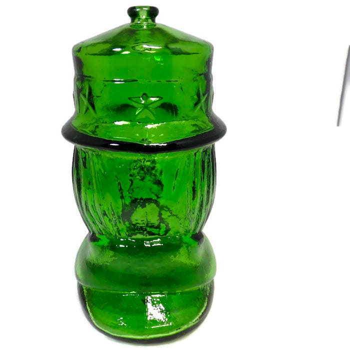 Image 1 of Vintage Uncle Sam Glass Coin Bank by Wheaton