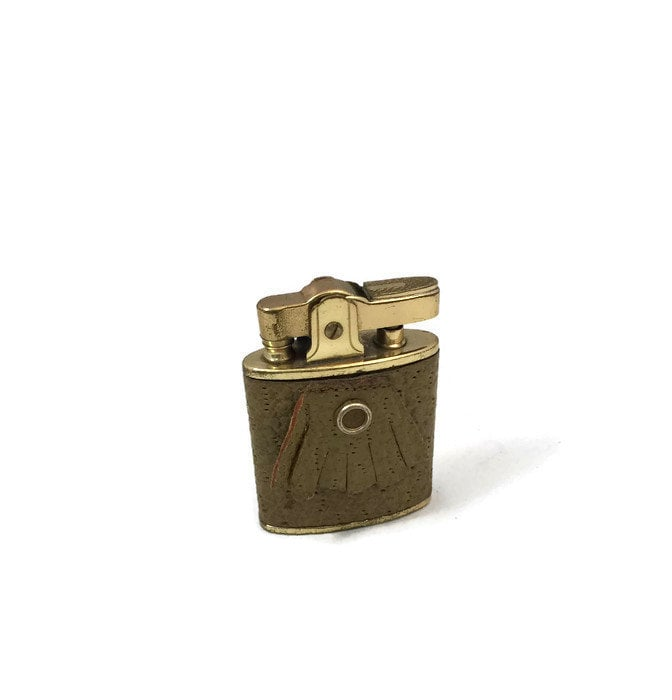Image 0 of Vintage Leather Wrapped Fringed Lighter