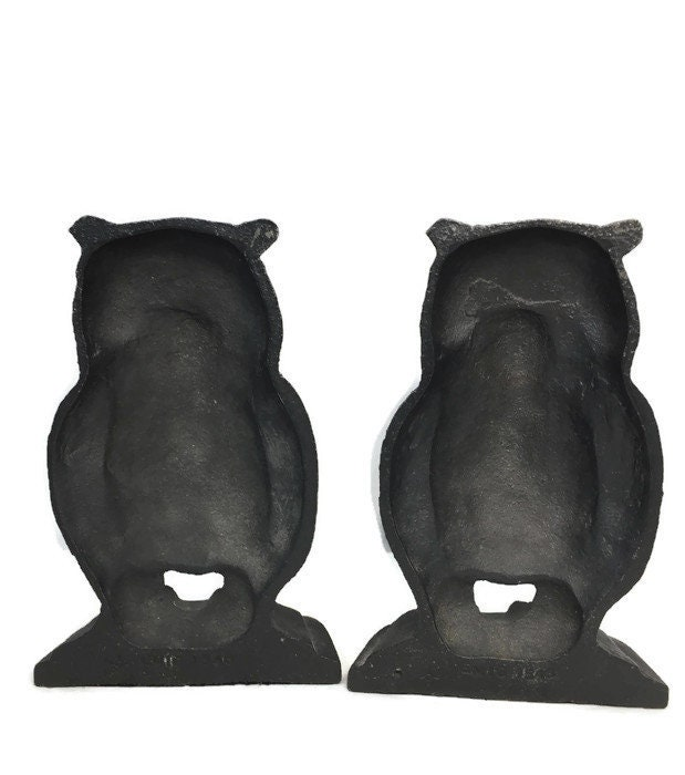 Image 2 of Vintage Owl Bookends, Black Cast Iron Wise Old Owls