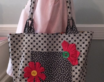 Shoulder Tote Bag - Black and White Cotton Fabric, Red Flowers, Pockets, Sewing Themed Interior, Needlework Bag, Knitters Tote, Sewing Bag