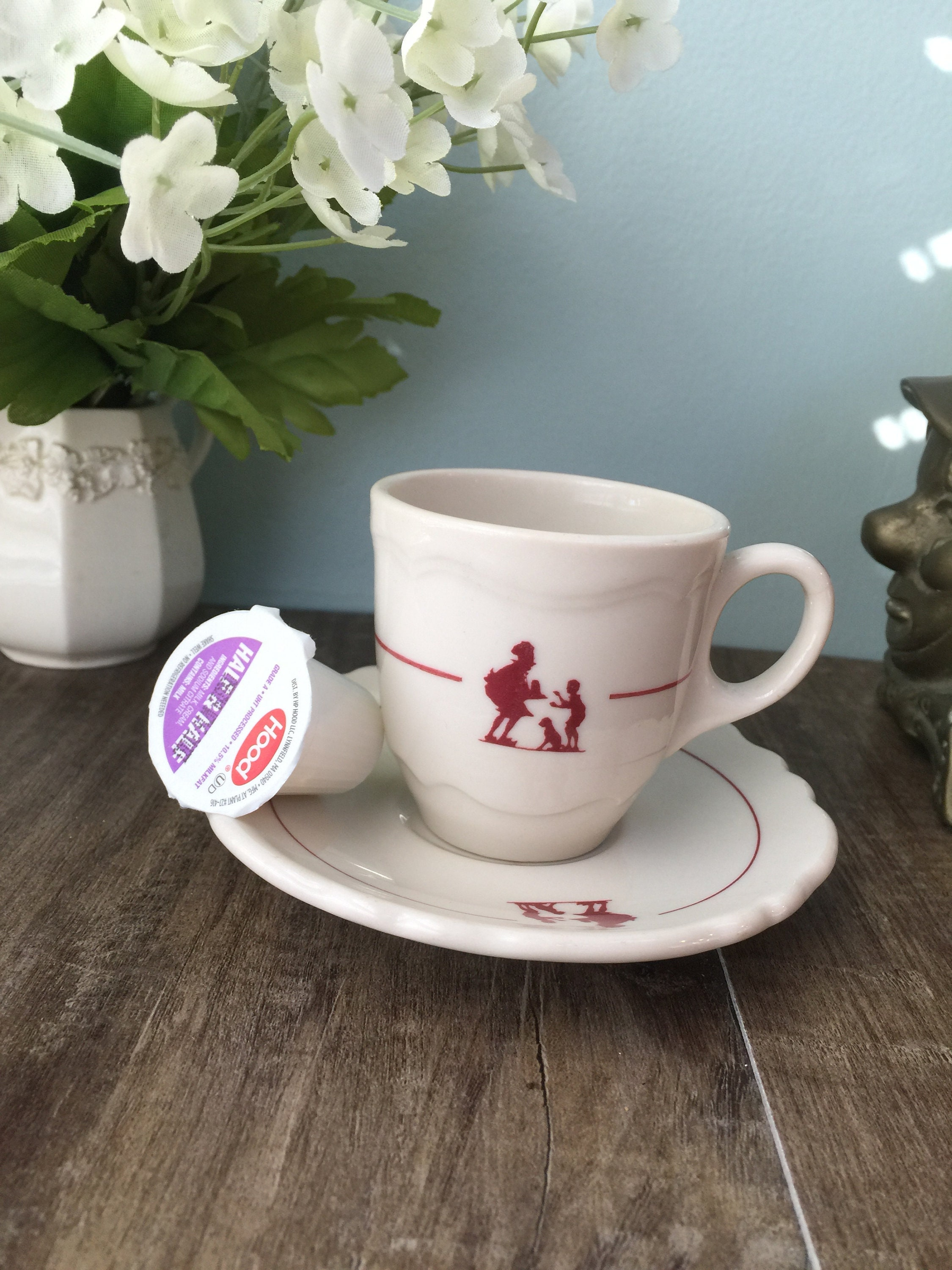 Mid Century Howard Johnson's Cup and Saucer Espresso Size