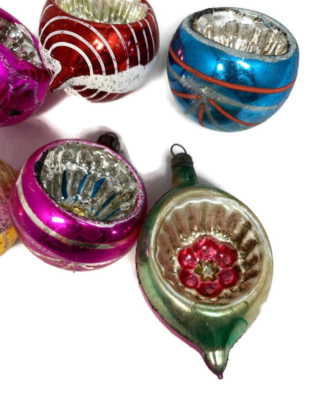 Image 8 of Vintage Glass Christmas Ornaments Indented Reflectors