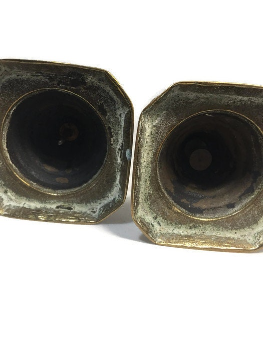 Image 4 of Vintage Brass Push Up Candle Holders