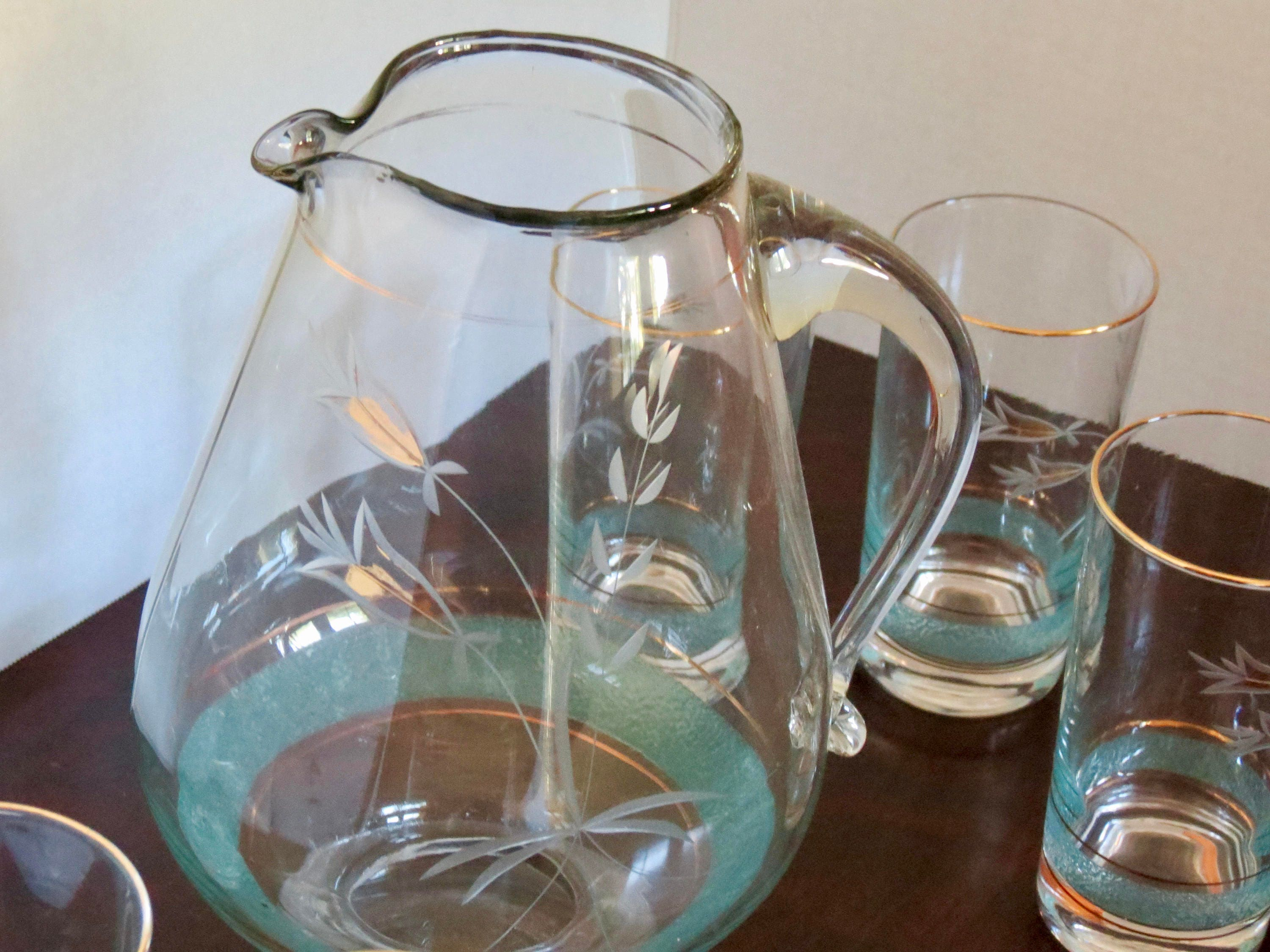 Image 8 of Vintage Pitcher Set - Mid Century Turquoise and Gold Graphics, Pitcher with Six