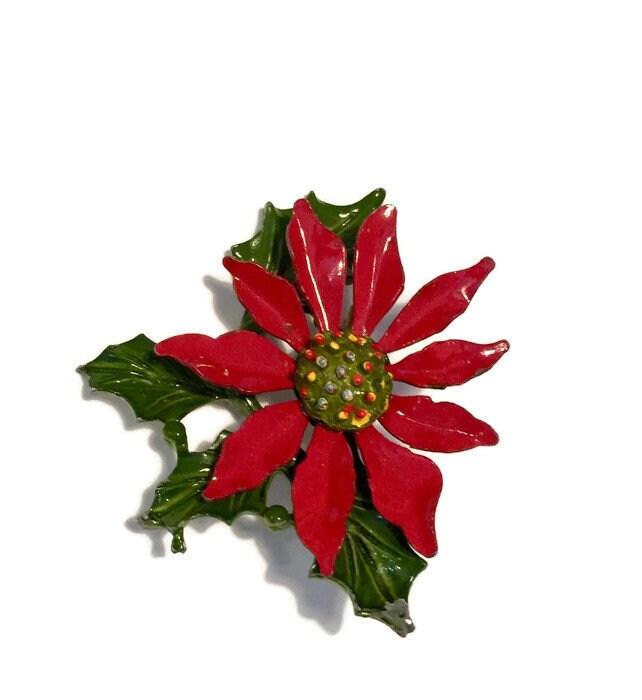 Vintage Poinsettia Christmas Pin