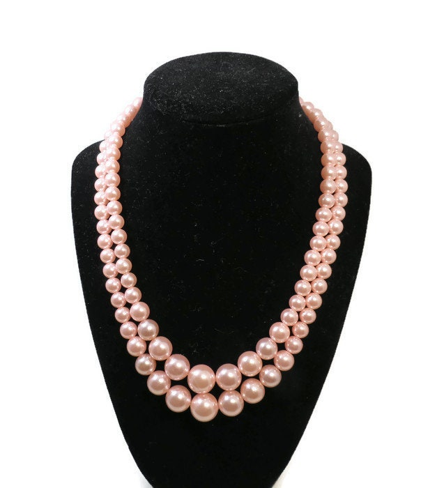 Vintage Pink Beaded Necklace