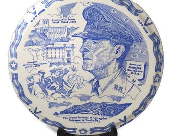 Vintage General MacArthur Plate - Vernon Kilns, Historic  Souvenir Plate, Blue White Collectible, General Douglas MacArthur, World War II
