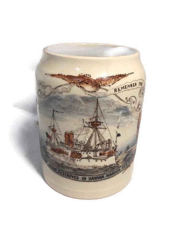 Antique Remember the Maine Mug