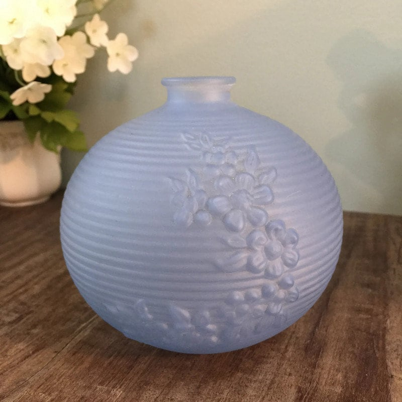 Image 9 of MidCentury Tiffin Blue Frosted Glass Vase