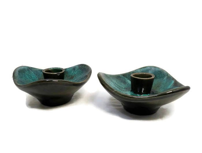 Image 3 of Mid Century Blue Mountain Pottery Candle Holders