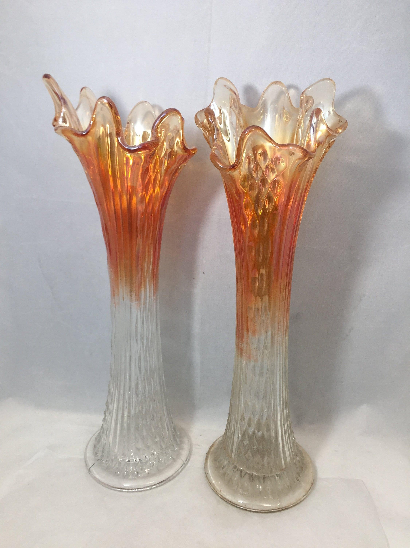 Vintage Ombre Marigold Carnival Glass Swung Vases