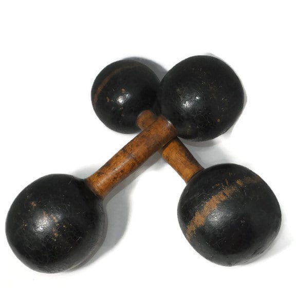 Antique Wood Weight Set