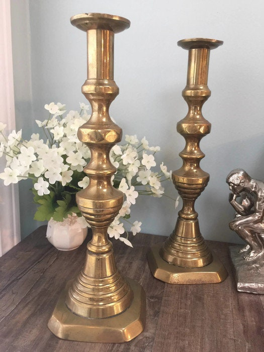 Image 7 of Vintage Brass Push Up Candle Holders