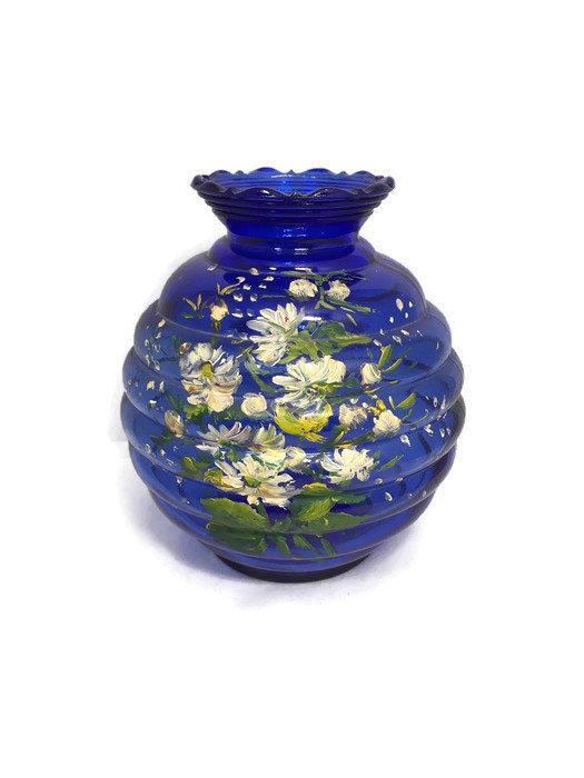 Vintage Hand Painted Cobalt Blue Glass Vase