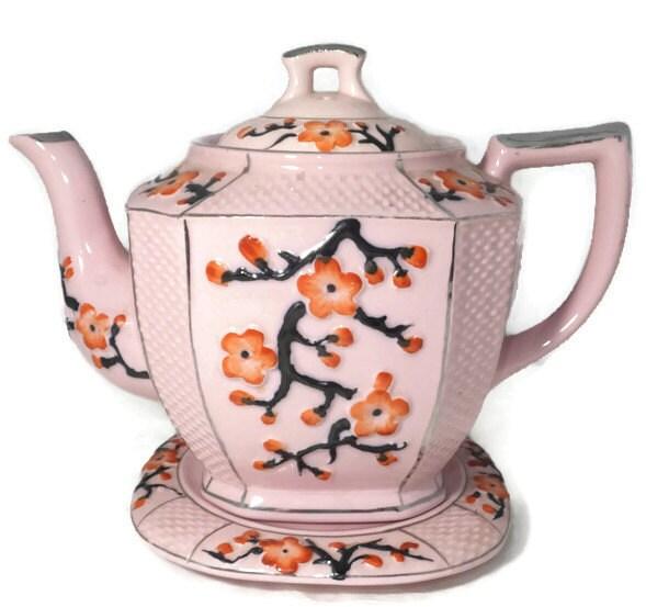 Vintage Asian Teapot with Saucer