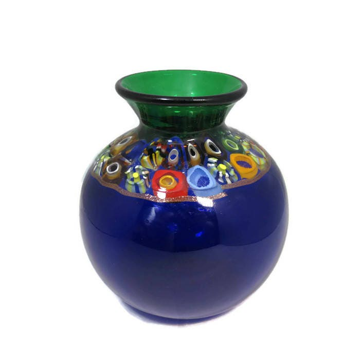 Handblown Blue Glass Vase