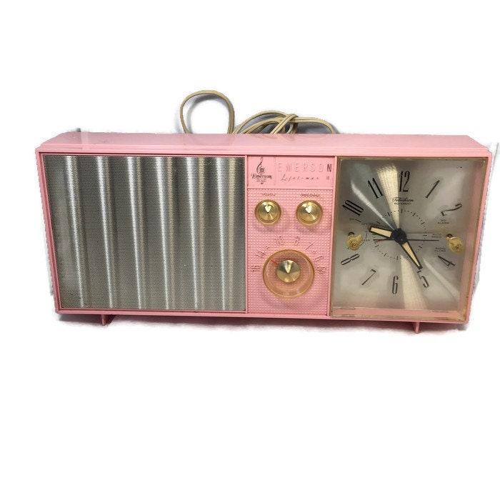 Mid Century Pink Clock Radio, Emerson Electric Lifetimer Telechron