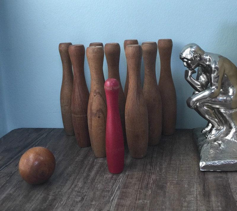 Antique Wood Bowling Pin Set