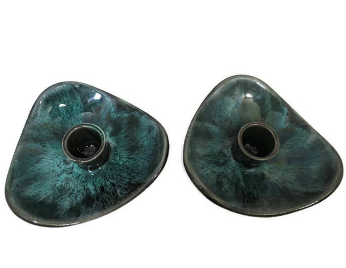 Image 7 of Mid Century Blue Mountain Pottery Candle Holders
