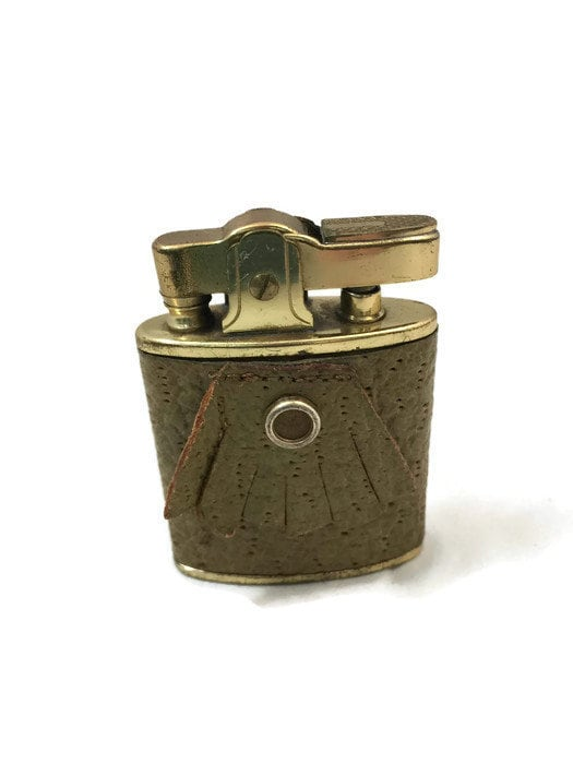 Image 1 of Vintage Leather Wrapped Fringed Lighter