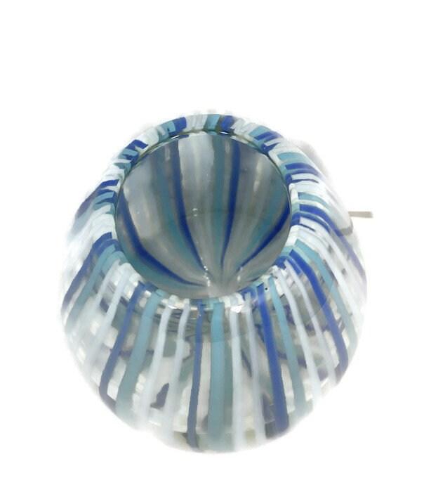 Image 3 of Mid century Murano Vase Blue Swirling Stripes Art Glass