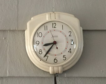 Vintage Sessions Wall Clock, White Kitchen Clock, Rewired, Self Starting,  Made In