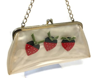 Vintage Vinyl Purse - Translucent Plastic handbag with strawberries, goldtone hardware and chain handle, Kiss Closure