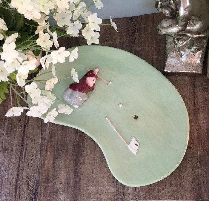 Image 9 of Mid Century Golf Green Ceramic Dish