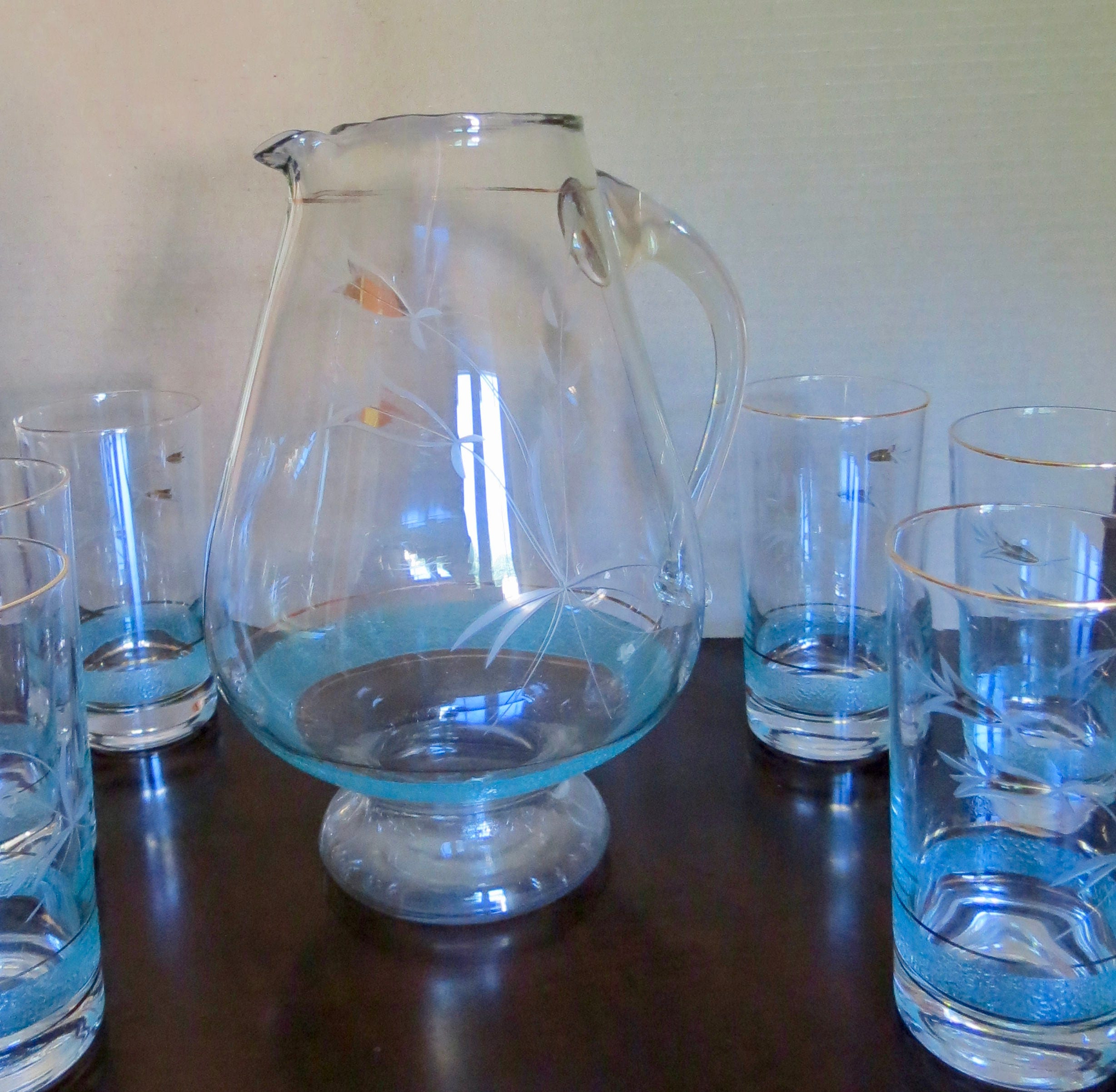 Image 4 of Vintage Pitcher Set - Mid Century Turquoise and Gold Graphics, Pitcher with Six
