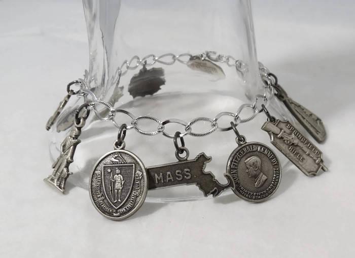 Vintage Massachusetts Charm Bracelet