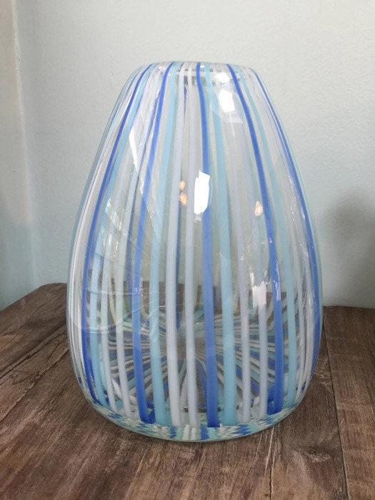 Image 1 of Mid century Murano Vase Blue Swirling Stripes Art Glass