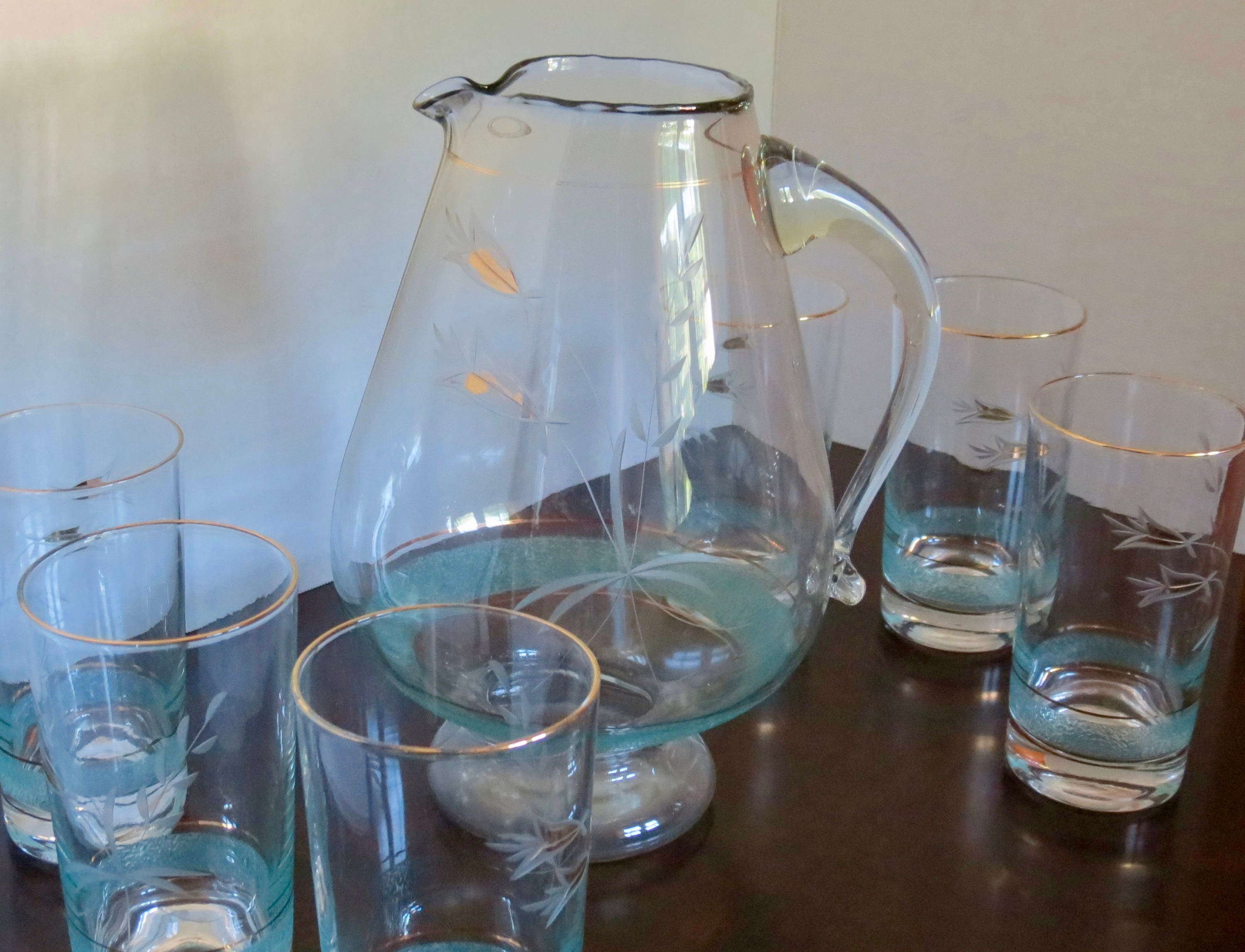 Image 9 of Vintage Pitcher Set - Mid Century Turquoise and Gold Graphics, Pitcher with Six