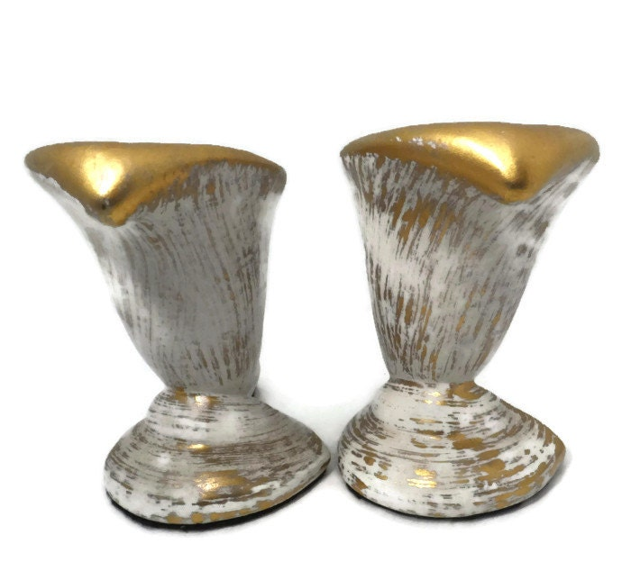 Image 4 of  Mid Century Gold Tweed Pottery Candleholders